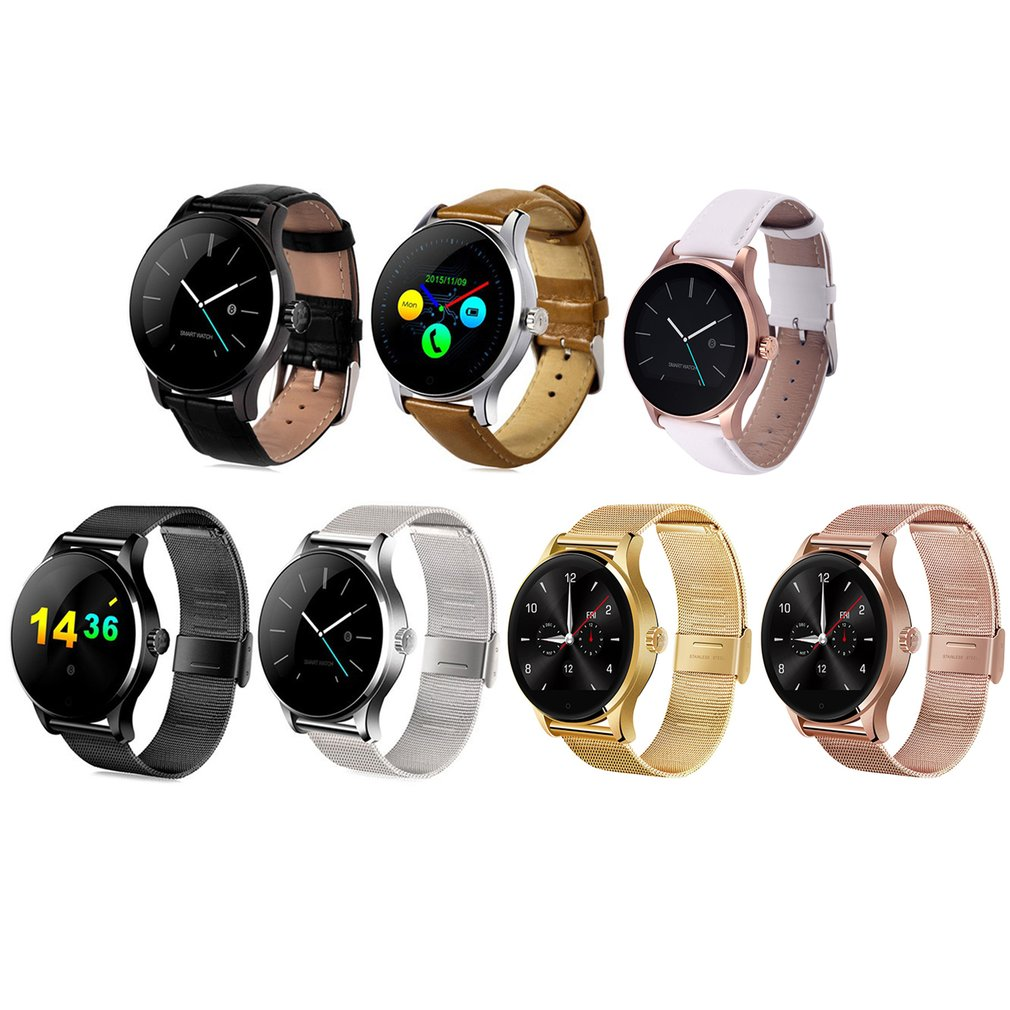 Smart Watch Tracker Bluetooth Leather/Steel Wristwatch Heart Rate Monitor Sports Pedometer Dialing Smartwatch For Android IOS dm2018 smart watch android gps sports 4g smartwatch phone 1 54 inch bluetooth heart rate tracker monitor pedometer pk kw88 dm98