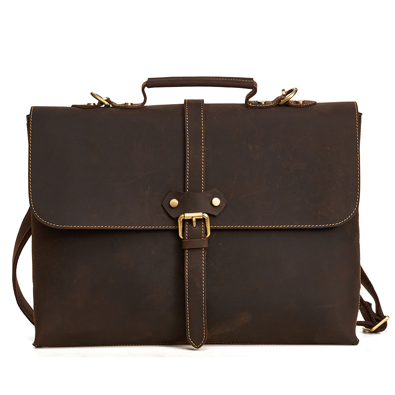 LAPOE 2018 New Casual Men Briefcase Crazy Horse Genuine Leather Men's Messenger Bags Male Laptop Bag Men Business Travel Bag ipad bag handbags male vertical section business briefcase men bag korean trendy men crazy horse bag messenger bag 2016 new