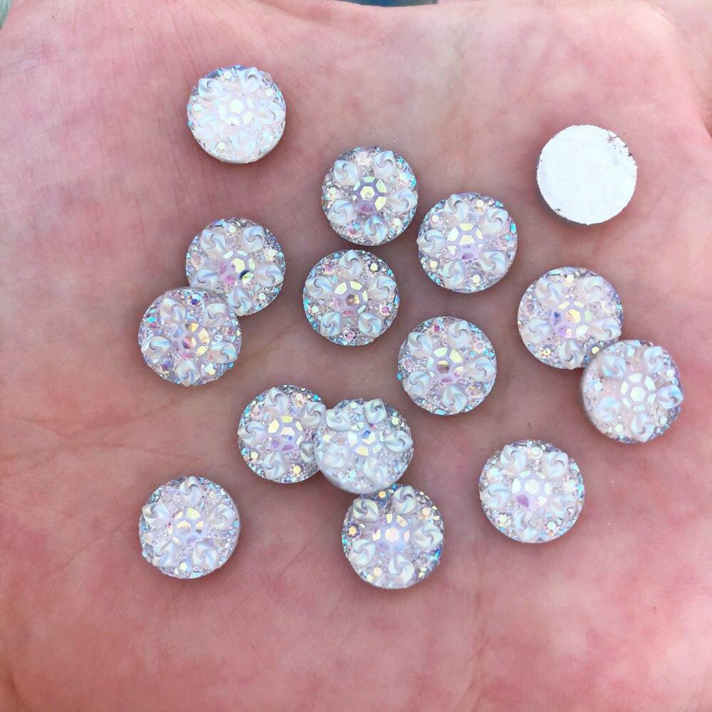 Новый 50 шт. 10 мм Смола Круглый 3D цветок Flatback свадебные туфли со стразами Кнопки DIY R432