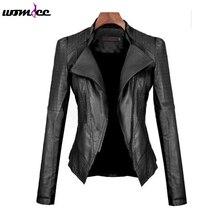 Ladies Fashion PU Leather Motorcycle Jacket Bomber 2016 Long Sleeve Winter Autumn Women Turn-down Collar Slim Short Coat Outwear