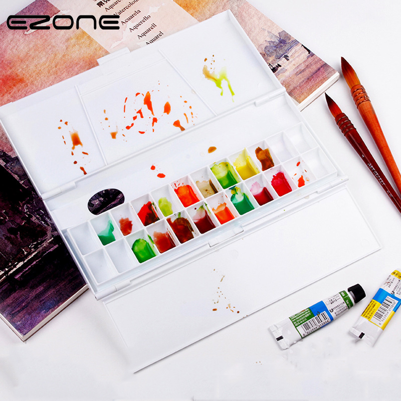 EZONE24 Grid Palette Plastic Moisturizing Watercolor Painting Palette Professional Artist Color Mixer School Office Art Supply professional 10 well round artist watercolor paint mixing palette tray white color