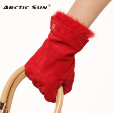 Fashion 2014 winter womens pig suede gloves wrist Rabbit hair genuine leather 4 colors driving L130NN black