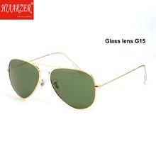 Real Glass Lens G15 Sunglasses Men Women High Quality 3025 Pilot Driving Sun Glasses Anti-glare Mirror UV400 Eyewear With Case