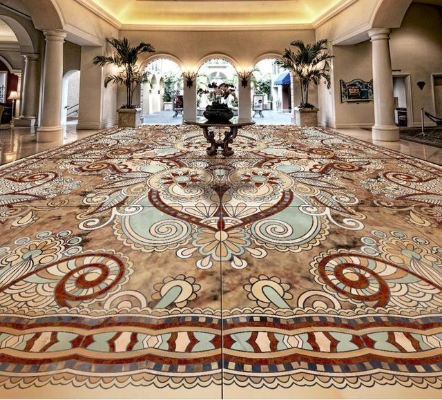 3d Floor Custom Wallpaper For Walls 3 D European Marble Mosaic Floor