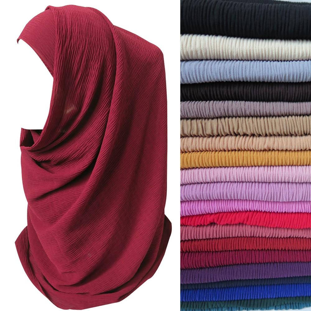 20pcs lot Crinkle Bubble Chiffon Muslim Women Headband Scarf Shawl Head Wrap Plain Colors
