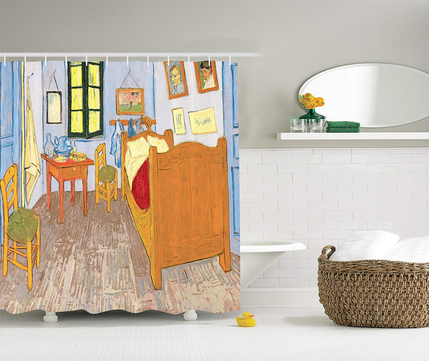 Shower Curtain Drawings By Vincent Van Gogh Bedroom In The Arles Reproduction Shower Curtains Aliexpress