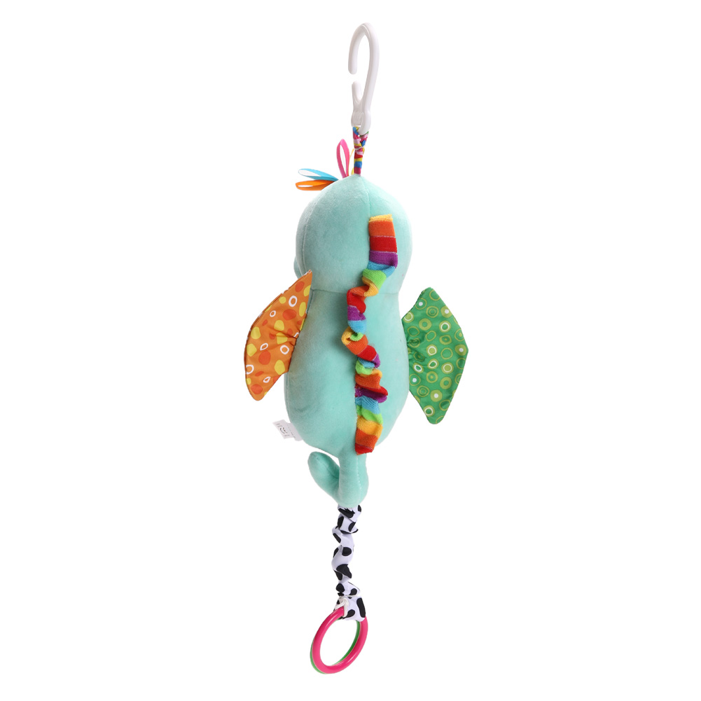 Baby Plush Handbell Kids Plush Cartoon Toys Teether Educational Baby Stroller Bed Hanging Musical Toys (Hippocampus) PNLO