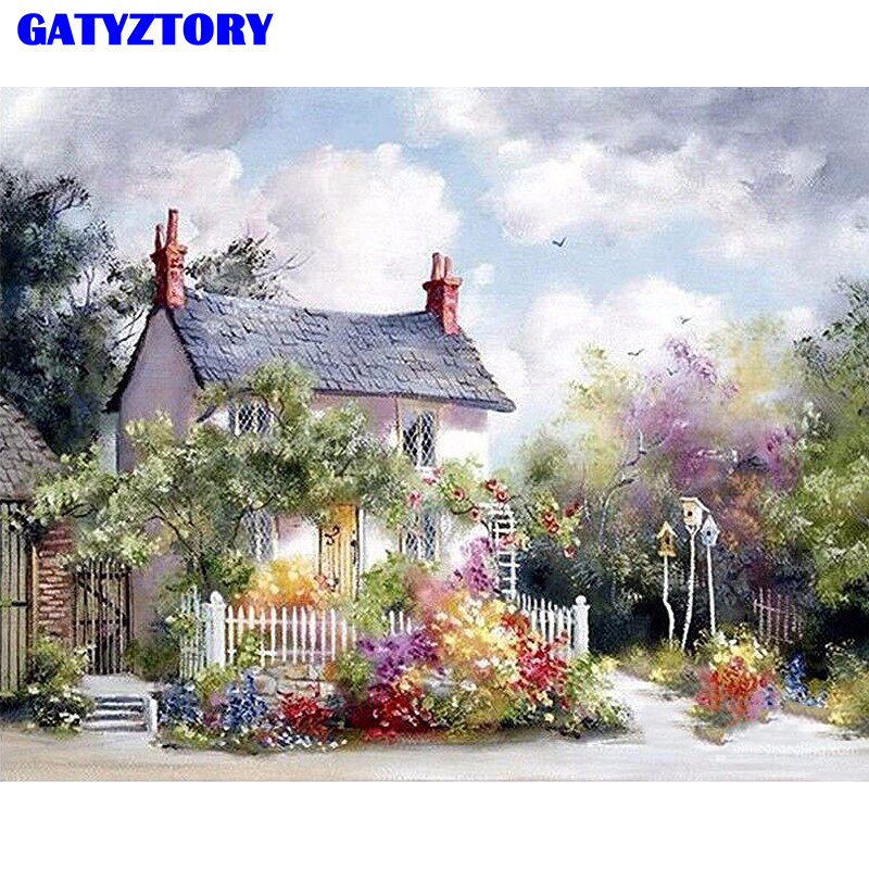 Frameless Rural Villa Landscape DIY Painting By Numbers Modern Canvas Painting Acrylic Paint By Numbers For Home Decor 40x50cm