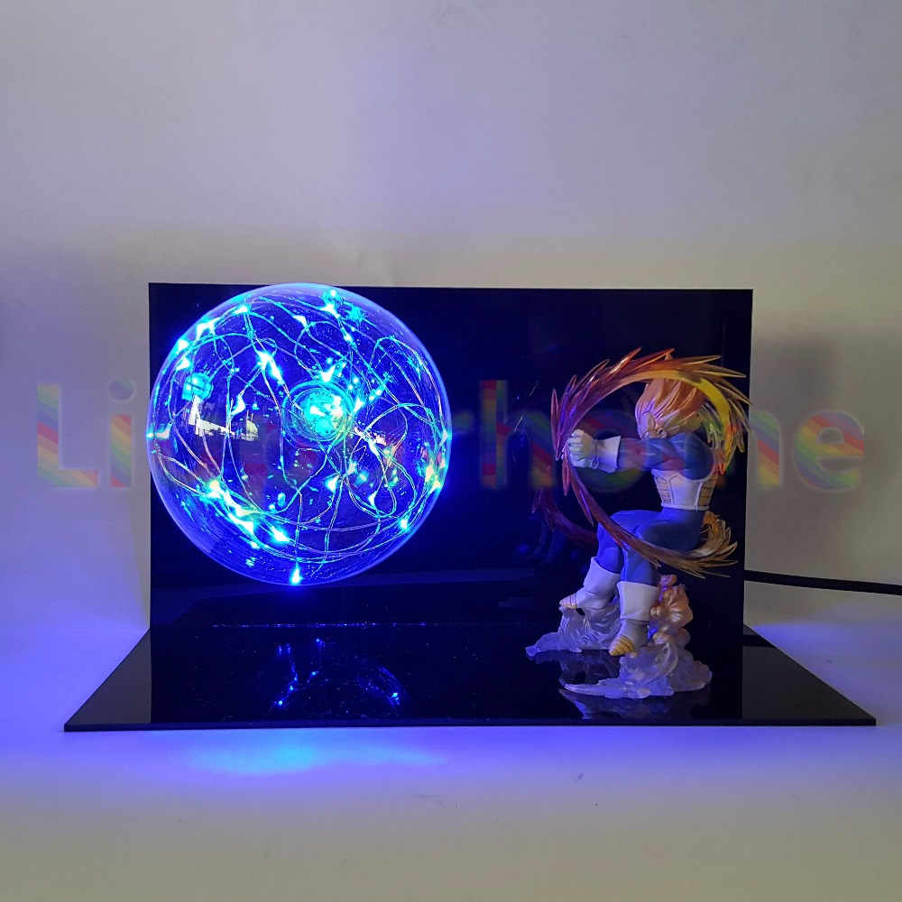Dragon Ball Z végéta bleu Flash Led veilleuses ampoule Anime Dragon Ball Super lumière Led lampe décoration de noël