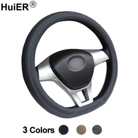 HuiER Car Steering Wheel Cover D Shape For Peugeot 3008 408 508 Citroen C3 XR C4 Sega C4L Elysee DS3 DS4 DS5 DS3 6 Audi TT S