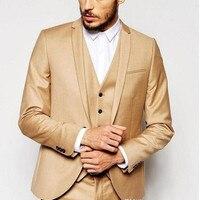 2017 עיצובים צפצף המעיל האחרונים חליפת גברים חום Slim fit בלייזר Masculino טוקסידו חליפות גברים 3 Pieces Terno Masculino החדש Custom made