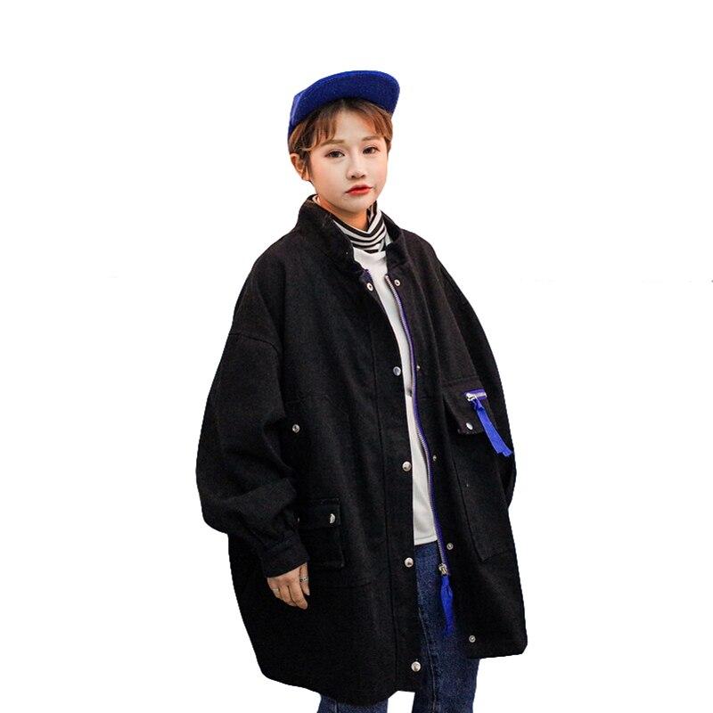 2019 New Fashion Big Pocket Women's Windbreaker Autumn Long Denim   Jacket   Women Winter Large Zise Loose Casual   Basic     Jackets
