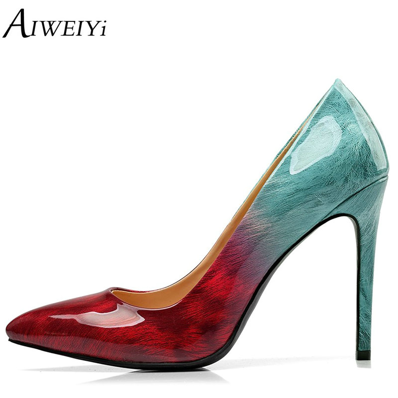 AIWEIYi Brand Shoes Woman Stiletto High Heels Platform Pumps Slip On Women's Dress Shoes Lades Wedding Shoes Pointed Toe Shoes aiweiyi 2018 summer women shoes pointed toe stiletto high heel pumps dress shoes high heels gold transparent pvc shoes woman