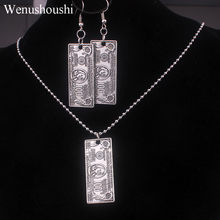 hiphop one hundred dollars jewelry sets rock punk dollars necklaces earrings women alloy nickel free di022(China)