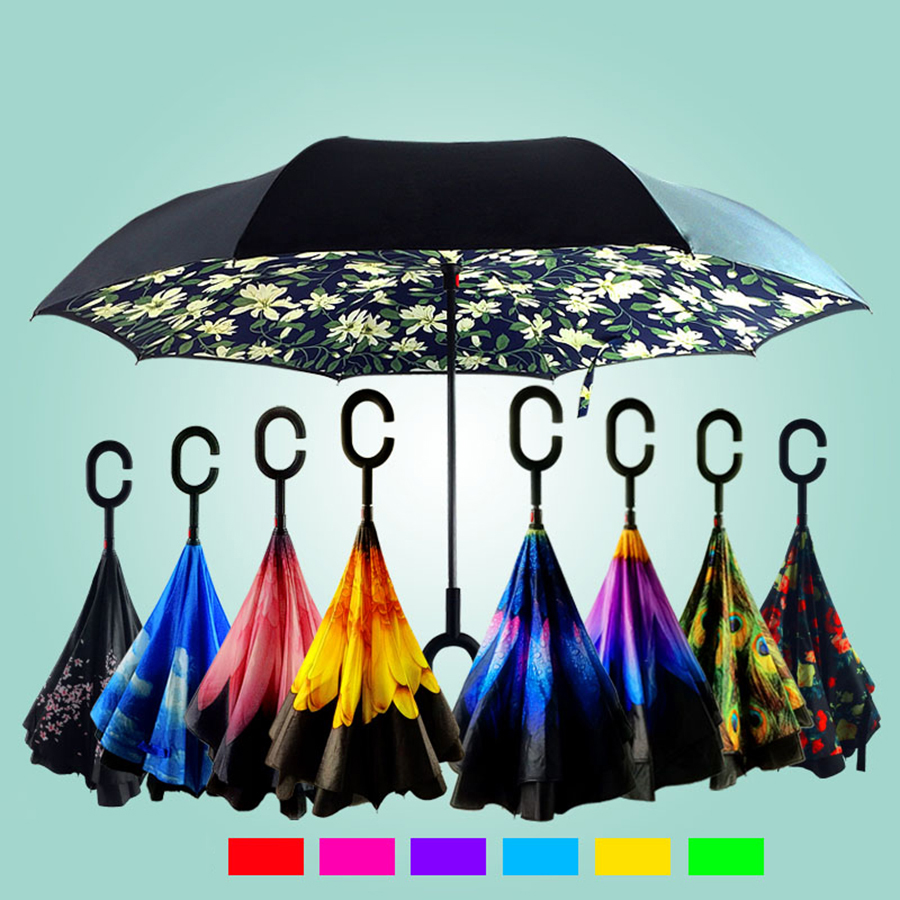 Umbrellas Ladies Rain Windproof Reverse Folding Umbrella Women Print Flower Black Coat Creative Men Umbrella Double DDDX5