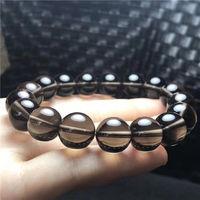 free shipping Natural Brown Quartz Smoky Quartz Crystal round Beads Bracelet 10 mm AAAA