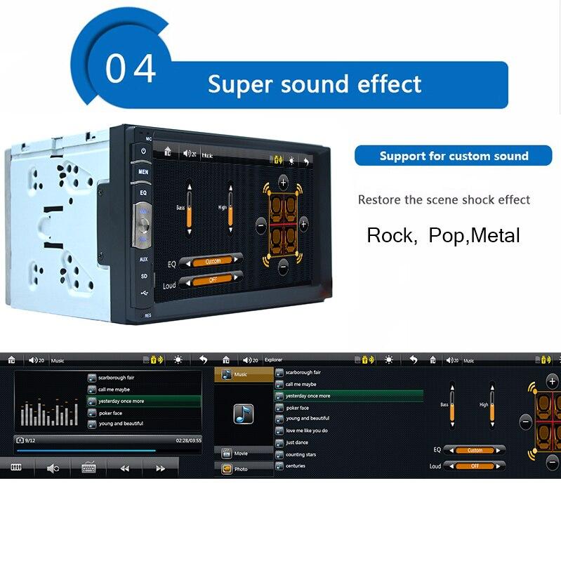 2 din 7 сенсорный экран автомобильный аудио плеер USB SD Bluetooth FM 2din в тире Поддержка камеры заднего вида