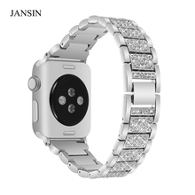 JANSIN Alloy Crystal Rhinestone Diamon Watch Band Luxury Stainless Steel Watch Bands for Apple Watch 38mm 42mm series 3 2 1