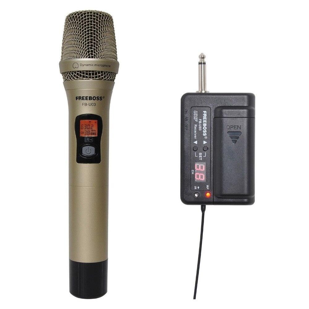 FREEBOSS FB-U03-1M 1cestný 100 kanál Kovový ruční vysílač Bezdrátový mikrofon Fotoaparát Mikrofon Party Karaoke Mikrofon
