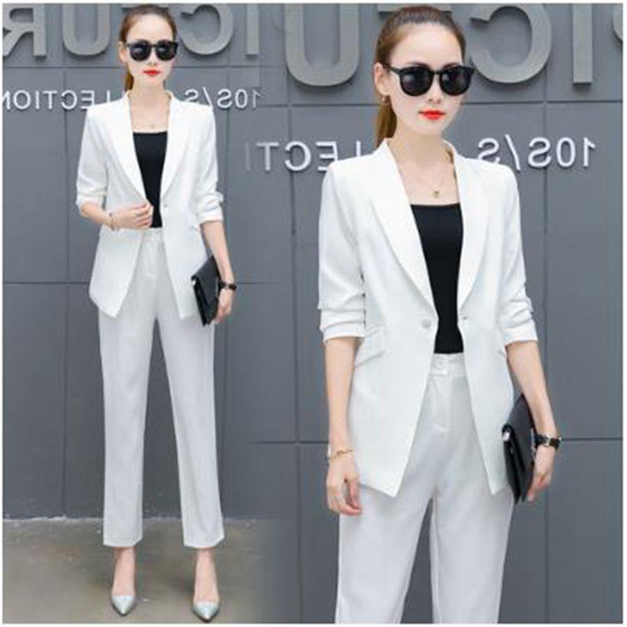 New Blazers Two Piece Sets Suit Solid Simple Women Pants Suits Long Slim Jacket Pants Female