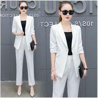 New Blazers Two Piece Sets Suit Solid Simple Women Pants Suits Long Slim Jacket & Pants Female High quality Spring Lady Suit