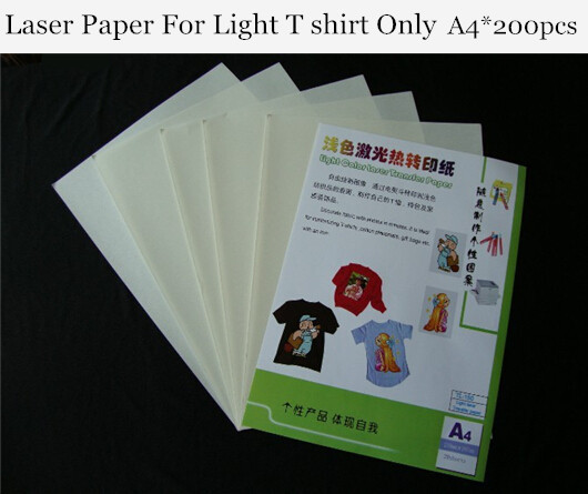 (A4*200pcs) Top Quality Laser Heat Transfer Paper For Light T Shirts Only With Toner Thermal Papel Transfers On Cotton TL-150
