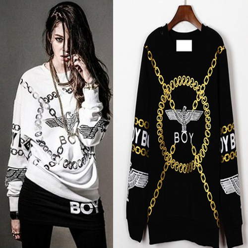 4ea2e1e499 Boy London for Women Men Fashion Gold Chain Letters Print Punk Street Wear  Black White Sweatshirts Free Shipping MLX10015