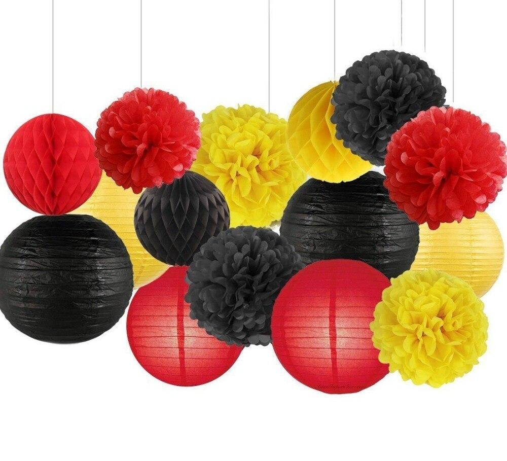 15PCS Yellow Black Red Party Decor Kit Tissue Paper Pom Poms Paper ...