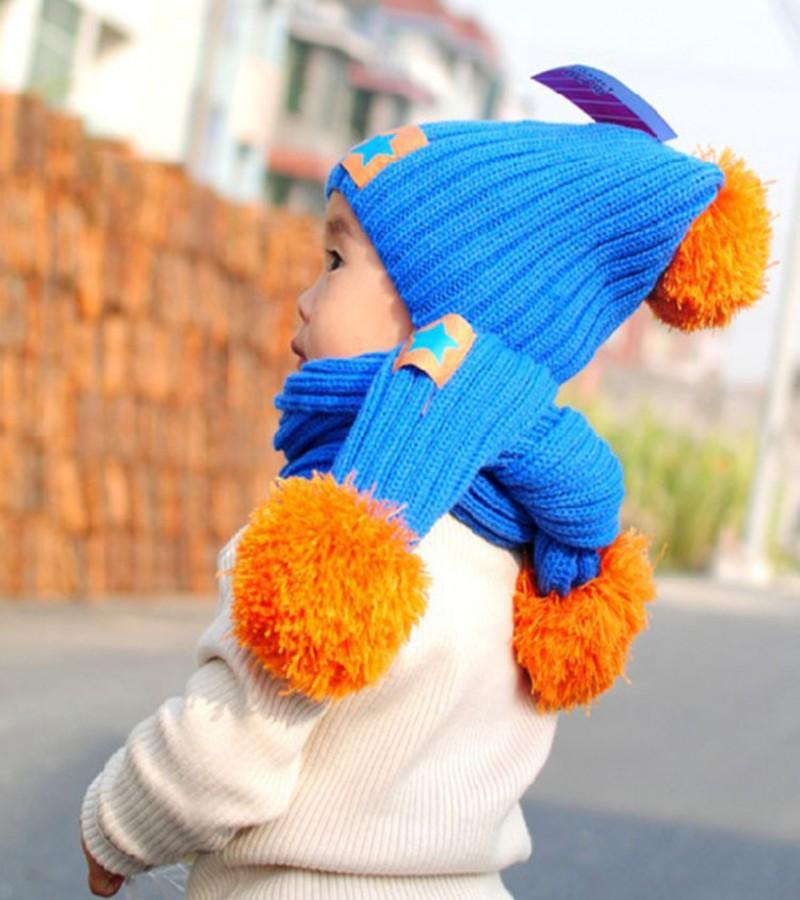 Kids Baby Doll Hat Winter Warm Beanie Five Pointed Star Crochet Earflap Boys Girls Hats Scarf+Cap one set