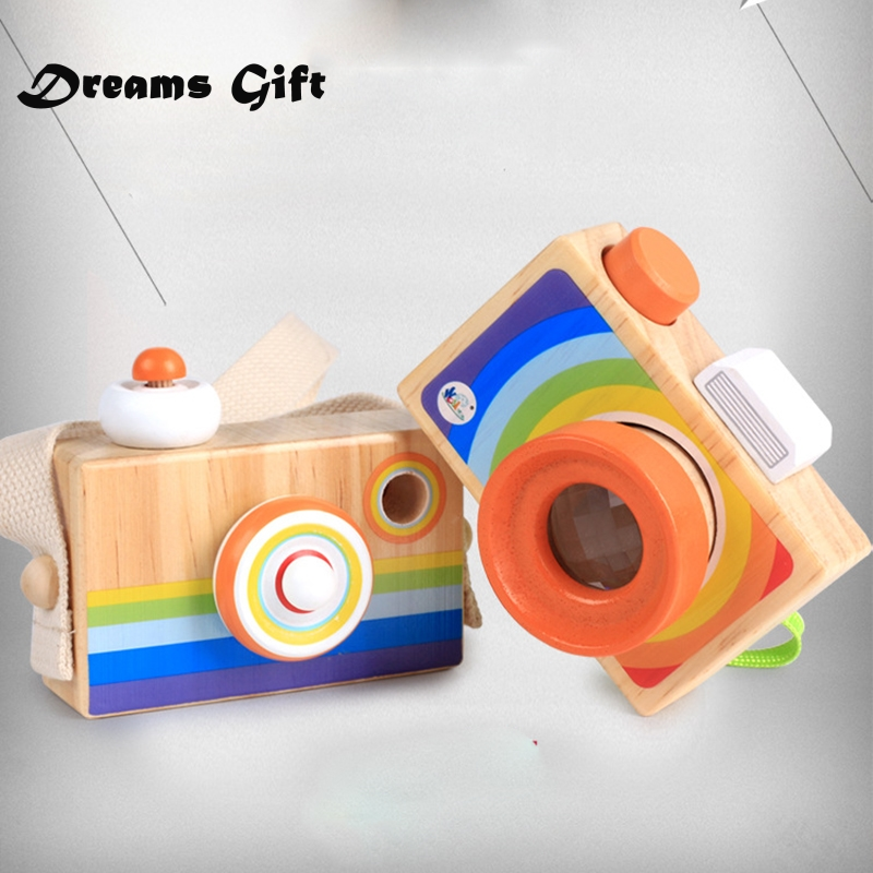 Toy Camera Cute Cartoon Baby Wooden Toy Kids Creative Neck Camera Photography Prop Decoration Children Playing House Tool MZ198