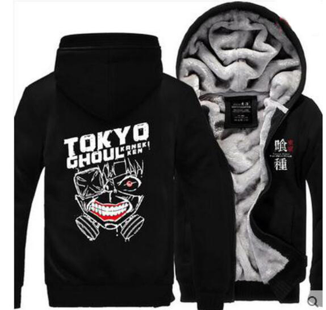 Winter Casual Tokyo ghoul Hoodie Anime Ken Kaneki Mask Thick Coat hoody Sweatshirt brand fleece men long sleeve Jacket
