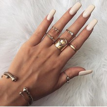 2019 Boho Vintage 6 Pcs/set Hollow Heart Bead Pendant Crystal Gold Ring Set Women Personality Knuckle Simple Jewelry Gift