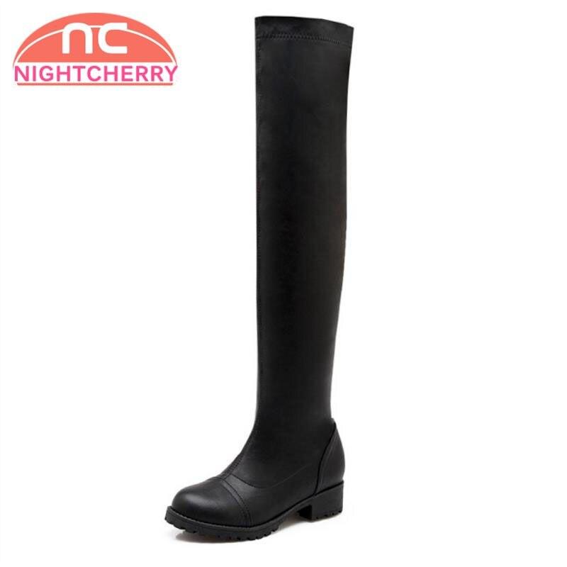 Calzado 34 Tacón Cuadrados La Tamaño Negro Punta Elástico Botas Largas Bajo blanco Zapatos Sobre Mujeres Redonda Mujer Clásico Rodilla 43 aOxwAqqg