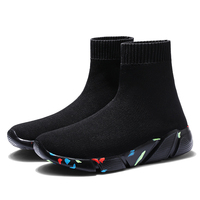 Sale Cheap Summer Solid Light High Top Breathable Knit Socks Boots Elastic Band Stretch Flat Shoes For Men Sneaker Casual Shoes