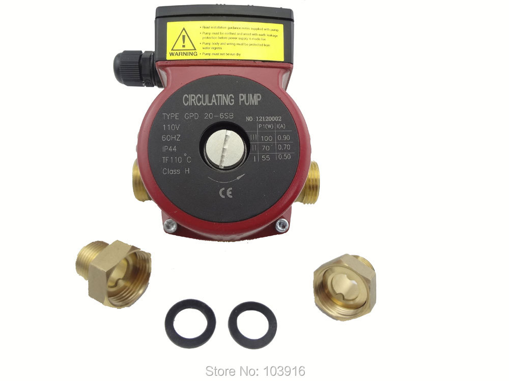 110v Brass circulation pump 3 speed,  for hot water heating system, for solar water heater