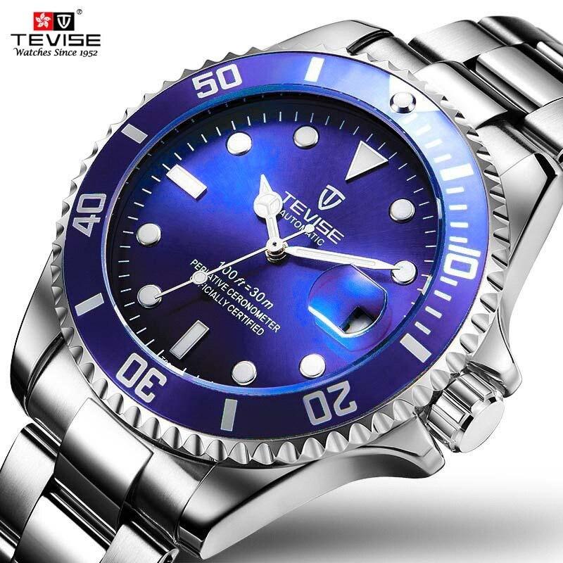 TEVISE Azul Mens Relógios com Anel Externo Rotativo Automático Homens Relógio Mecânico relógios de Pulso À Prova D' Água Luminosa Anti-Riscos