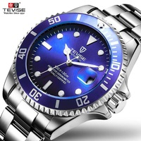 TEVISE Blue Mens Watches with Rotatable Outer Ring Automatic Clock Men Mechanical Wristwatches Waterproof Luminous Anti Scratch