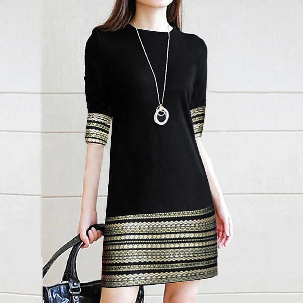 Модное женское повседневное винтажное элегантное легкое мини-платье со средним рукавом элегантное женское платье длинное женское винтажное платье