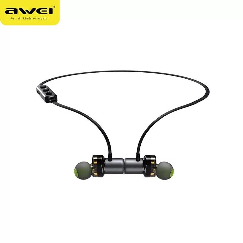 Awei X680BL Double anneau d'action Sport étanche Bluetooth casque Mini métal Sport téléphone Mobile casque gris
