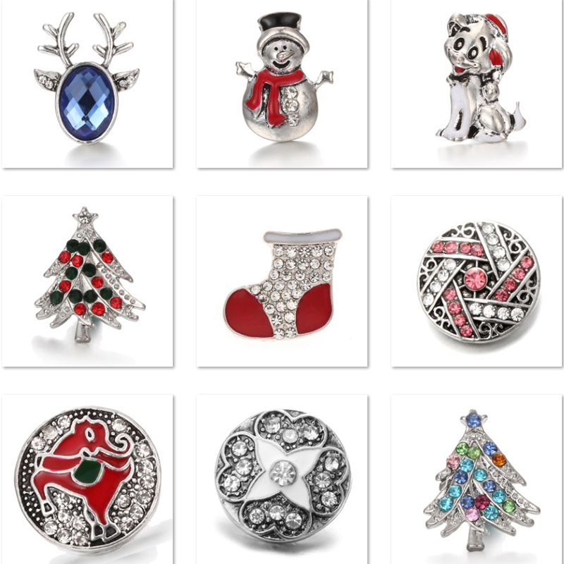 XH8038   Crystal  Christmas Snowman tree dog 18mm    Metal Snap button  fit snap jewelry  DIY