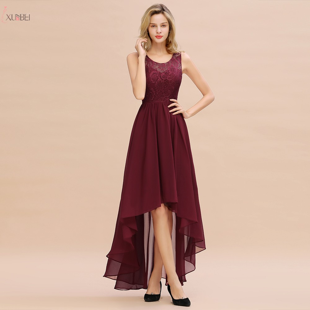 Burgundy Chiffon Long Bridesmaid Dresses 2019 High Low Wedding Guest Party Dress Scoop Neck Sleeveless Vestido Madrinha