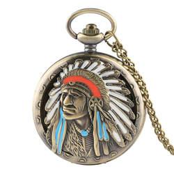 Античная красочные индийский старик Портрет дизайн Обложка кварцевые карманные часы Для мужчин Цепочки и ожерелья Женские часы в стиле