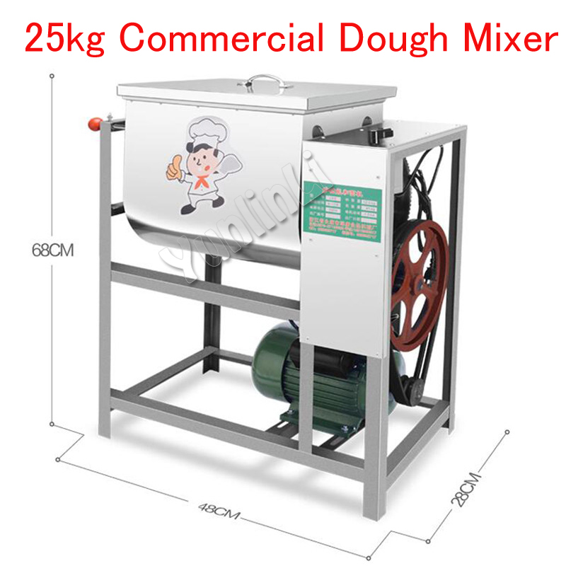 25kg Commercial Dough Mixer Electric Bread Dough Mixing Machine Bread Flour Mixer Pasta/Dough Kneading Machine with Motor mtj practical dough machine high quality bread dough cutter and rounder machine dough ball making machine 220v 380v 1pc