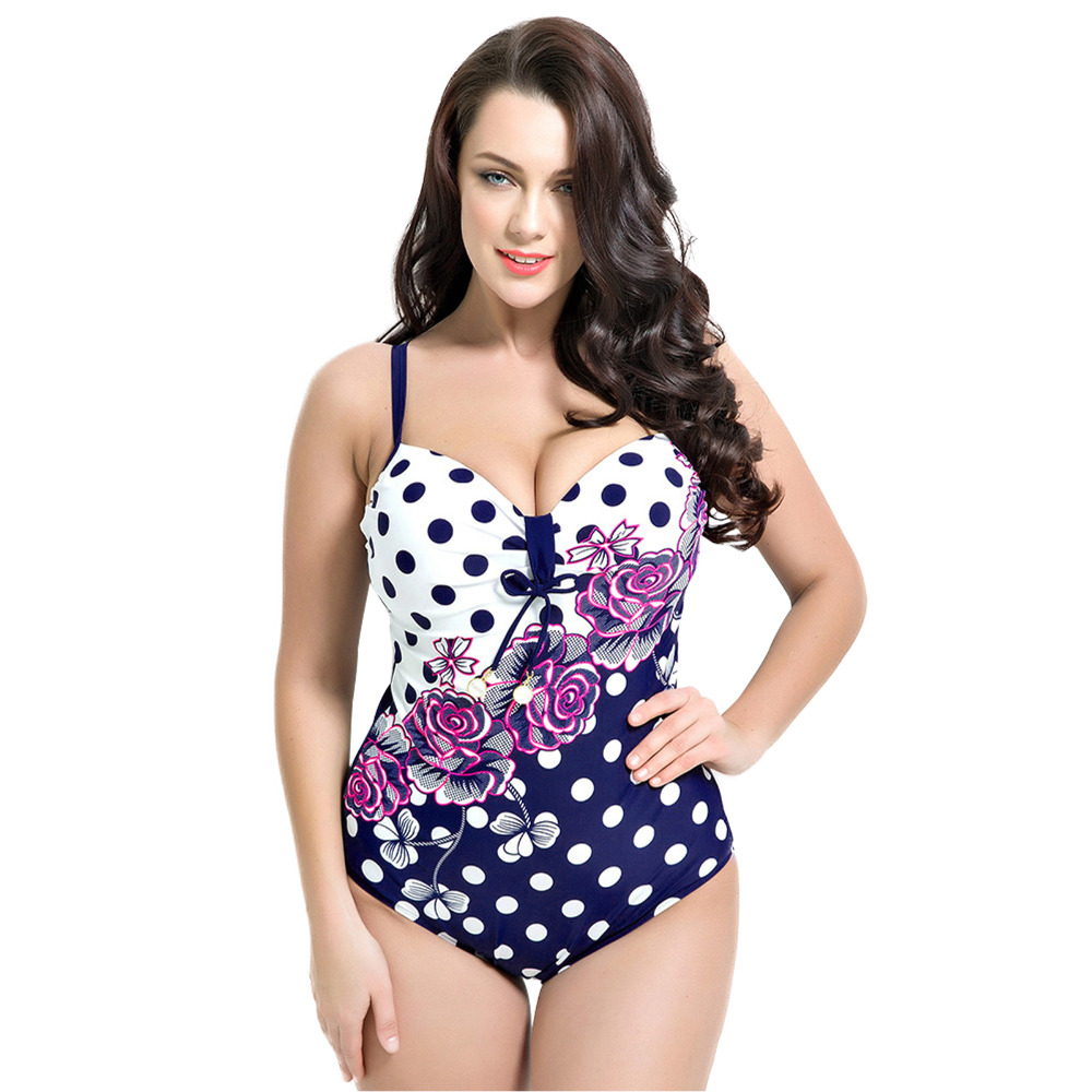 Hot ! Vintage Retro Style Plus Size One Piece Swimsuit Swimwear Dot Floral Print Pad Bathing Suit Bodysuit Beach Swim suit F1694 sweet style halter three piece floral print ruffled underwire bathing suit for women