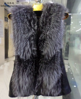 Linhaoshengyue silver fox round collar leather real fox fur vest Natural fur,In winter, warm coat