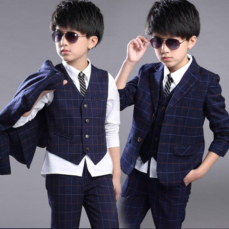 2016 Neue Kinder Anzug Baby Jungen Anzüge Kinder Blazer Jungen Anzug Für Hochzeiten Jungen Kleidung Set Jacken + Weste + Hosen 3 Stücke 4-12y Volumen Groß
