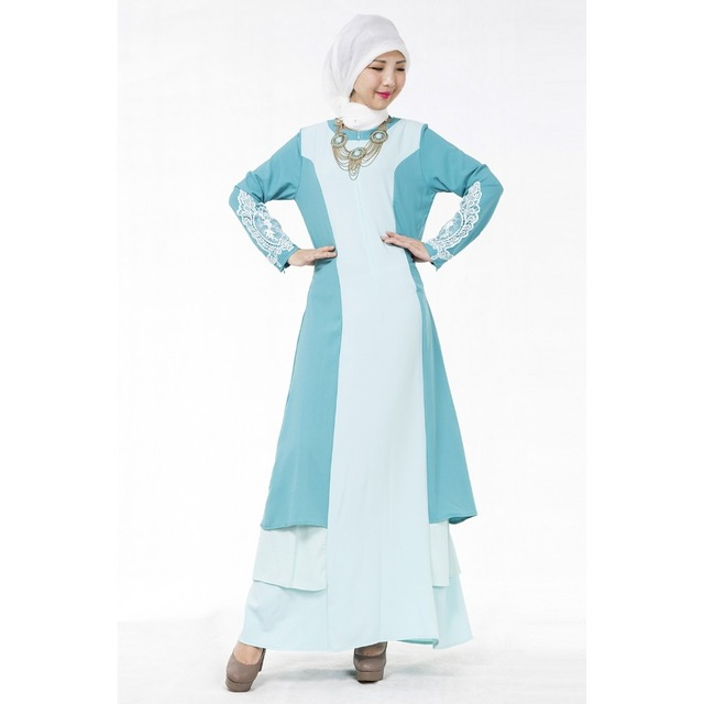 d27c67069b1 Robe Musulmane Muslim Women s Clothing Large Size Dress Spell Color Lace  Applique Dresses Cuffs Abaya Pakistan