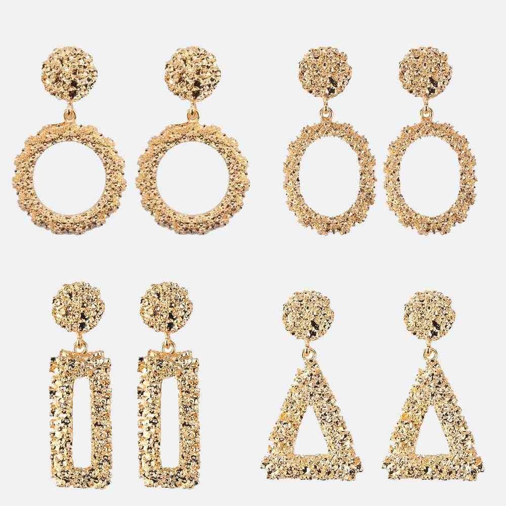 Dvacaman femmes métal boucles d'oreilles ensembles géométrique or et argent Maxi boucles d'oreilles Simple mode déclaration bijoux en gros accessoire