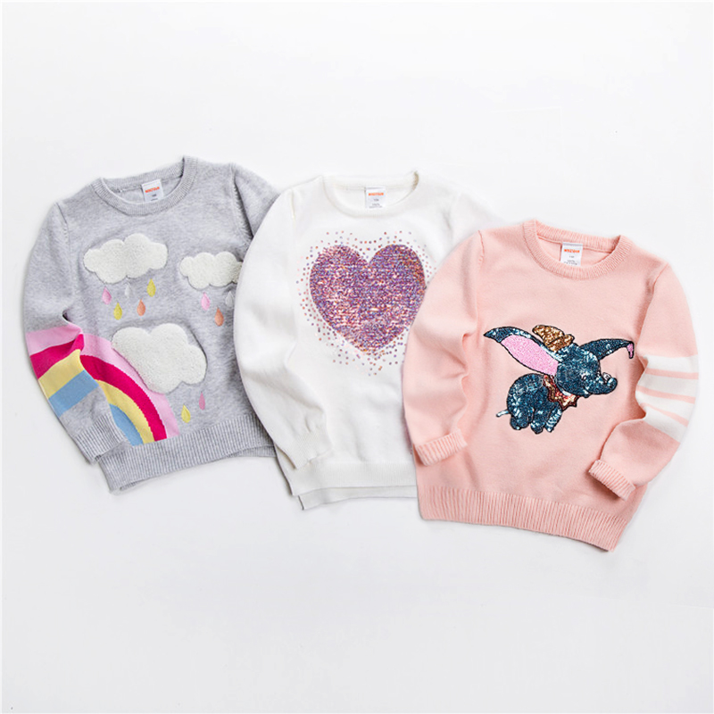 New Kids Sweater Soft Cartoon Pullover Sweater For Girls Fashion Sequins Childrens Knitting Clothes Baby Boy & Girl Jumper 3-7 Y