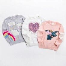 Nova camisola dos desenhos animados camisola macia para meninas moda lantejoulas crianças tricô roupas do bebê menino & menina jumper 3 7 y